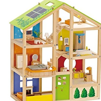 All Seasons Wooden Doll House Furnished by Hape