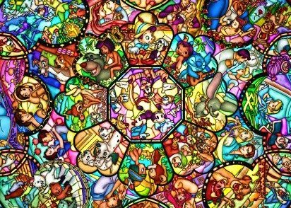 Disney All Characters Stained Glass Jigsaw Puzzle 2000 Piec by Tenyo