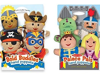 Adventure Hand Puppets Set of 2 4 puppets in each by Melissa  Doug