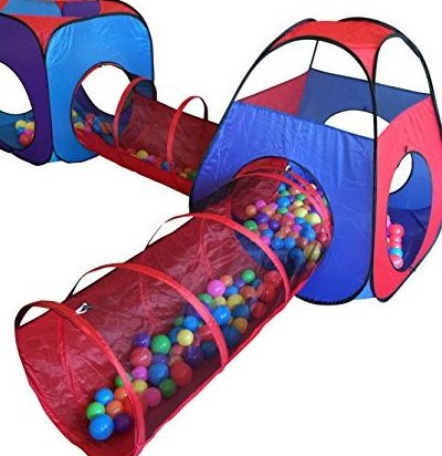 4pc Pop Up Children Play Tent w/ 2 Crawl Tunnel  2 Tents - K by Playz