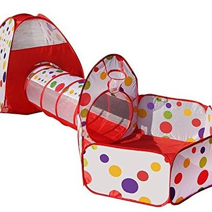 3-Piece Kids Play Tent Tunnel and Ball Pit with Basketball H by Playz