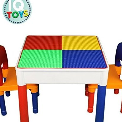Kids Table Chairs 3 in 1 Lego Duplo Compatible plus Sto by IQ Toys