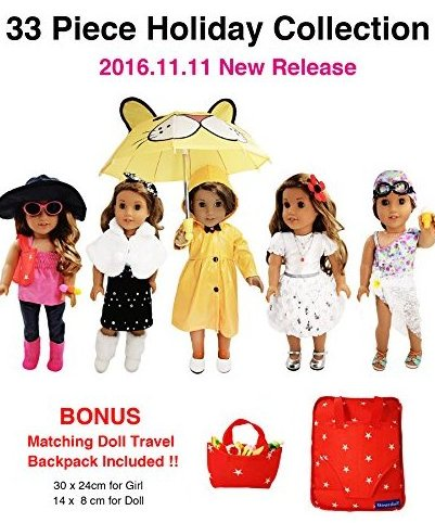 33 Piece Holiday Collection for American Girl Doll - 18 in by Weardoll