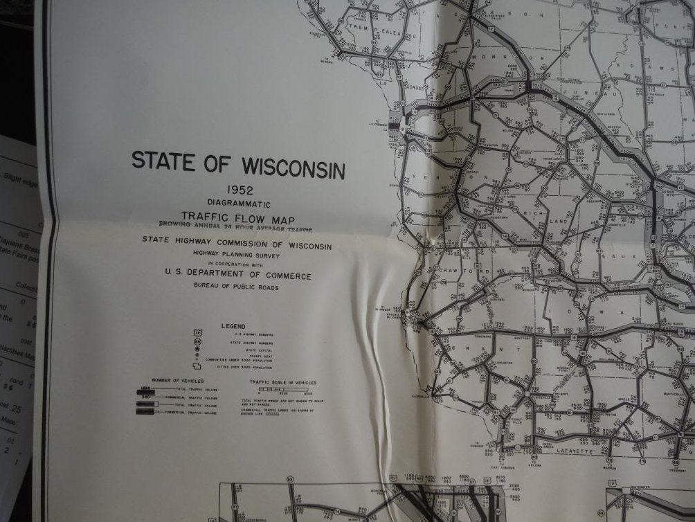 1952 State of wisconsin Diagrammatic Traffic Flow Map Showing Annual 24 Hour Ave
