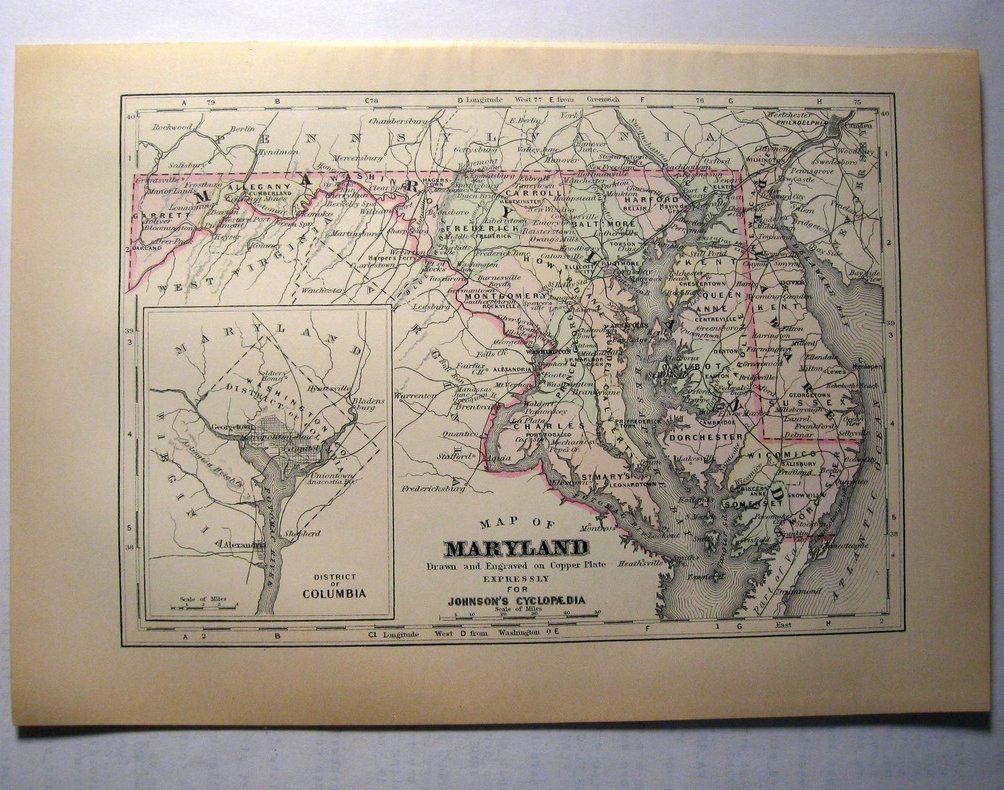 Johnson's  Map of Maryland -  Original (1897)