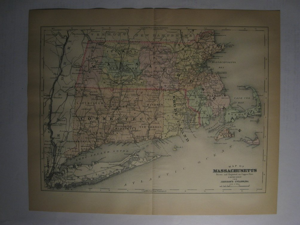 Johnson's  Map of Massachusetts -  Original (1897)