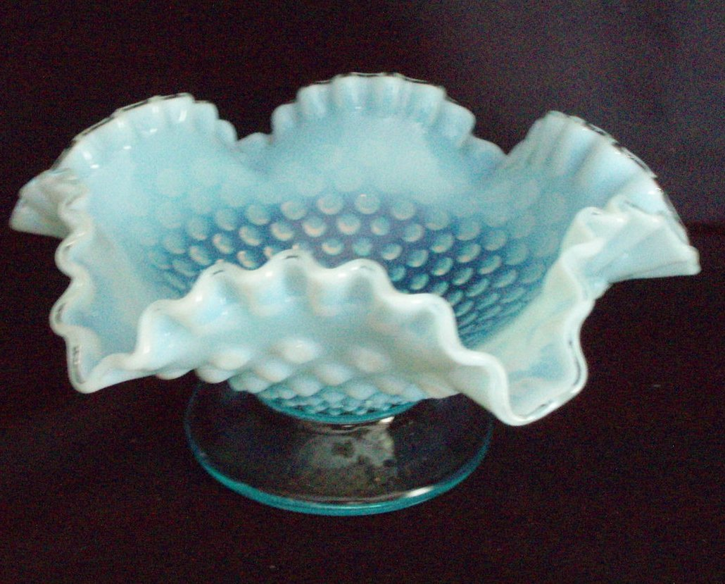 Fenton Blue Opalescent Hobnail Comport 8 footed 3727 BO VTG