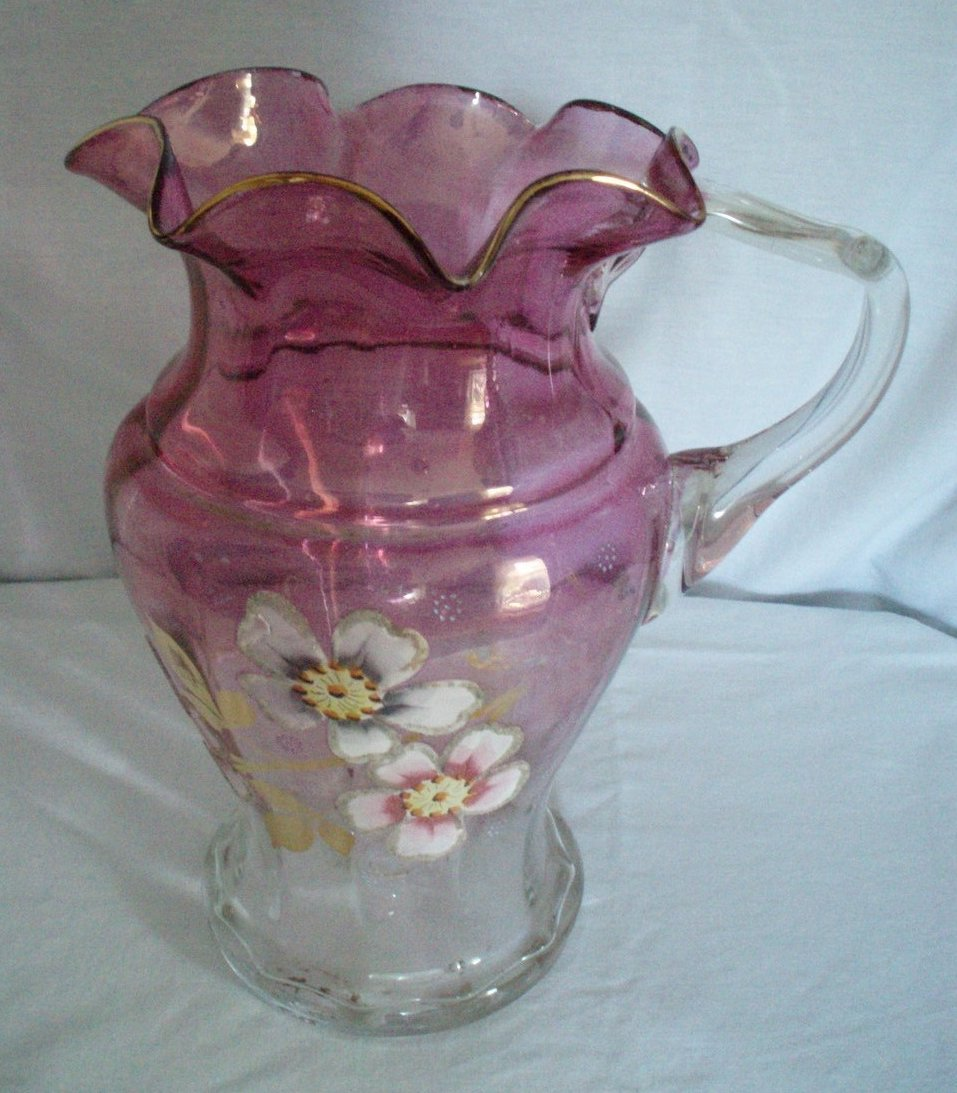 antique 64 ounce Rubina glass pitcher Northwood