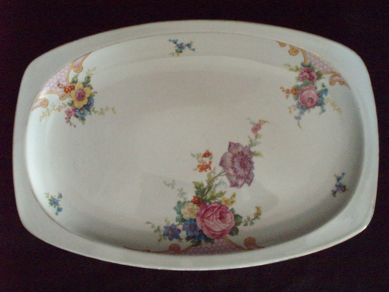 Epiag Czechoslovakia china Bridal Rose serving Platter VTG
