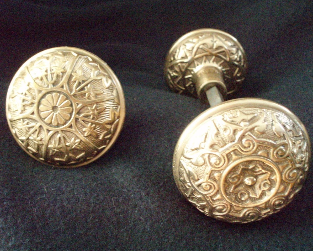 Antique Brass Victorian Eastlake door knob  set of 3