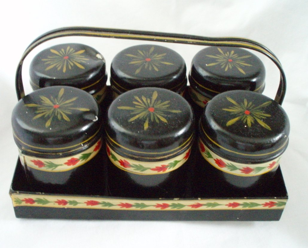 antique Toleware spice tin set of 6 in carrier
