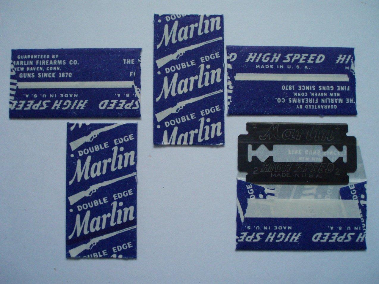 5 Marlin Antique Double Edged Razor Blades original wrapper