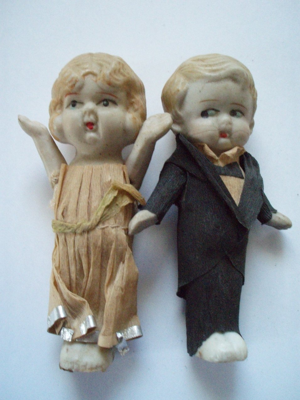 Antique Bisque bride and groom cake toppers wedding