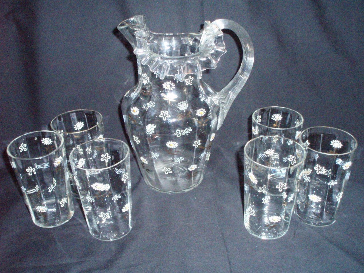 Antique English Pitcher 6 glasses hand painted daisies