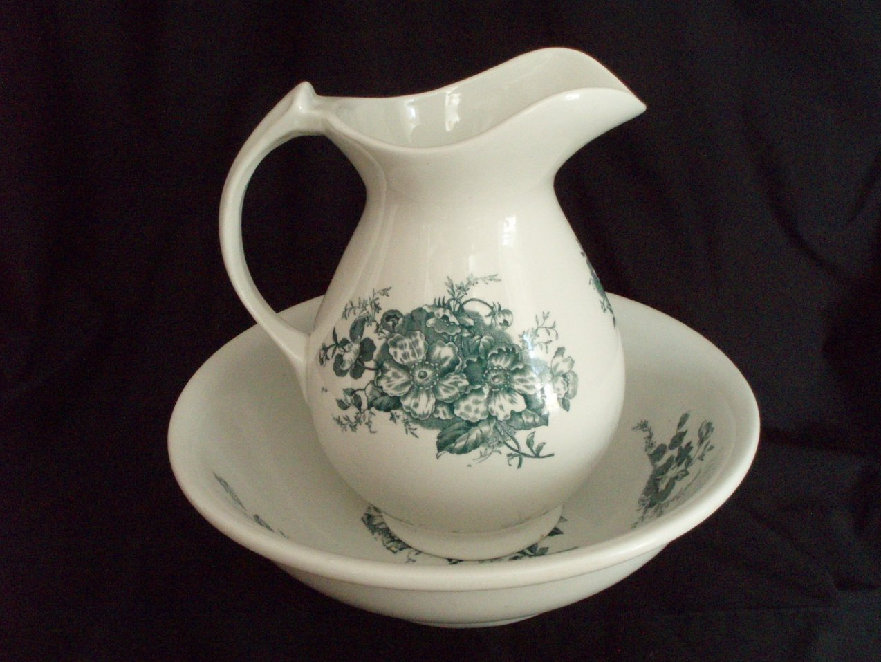Antique wash bowl basin and pitcher green transferware
