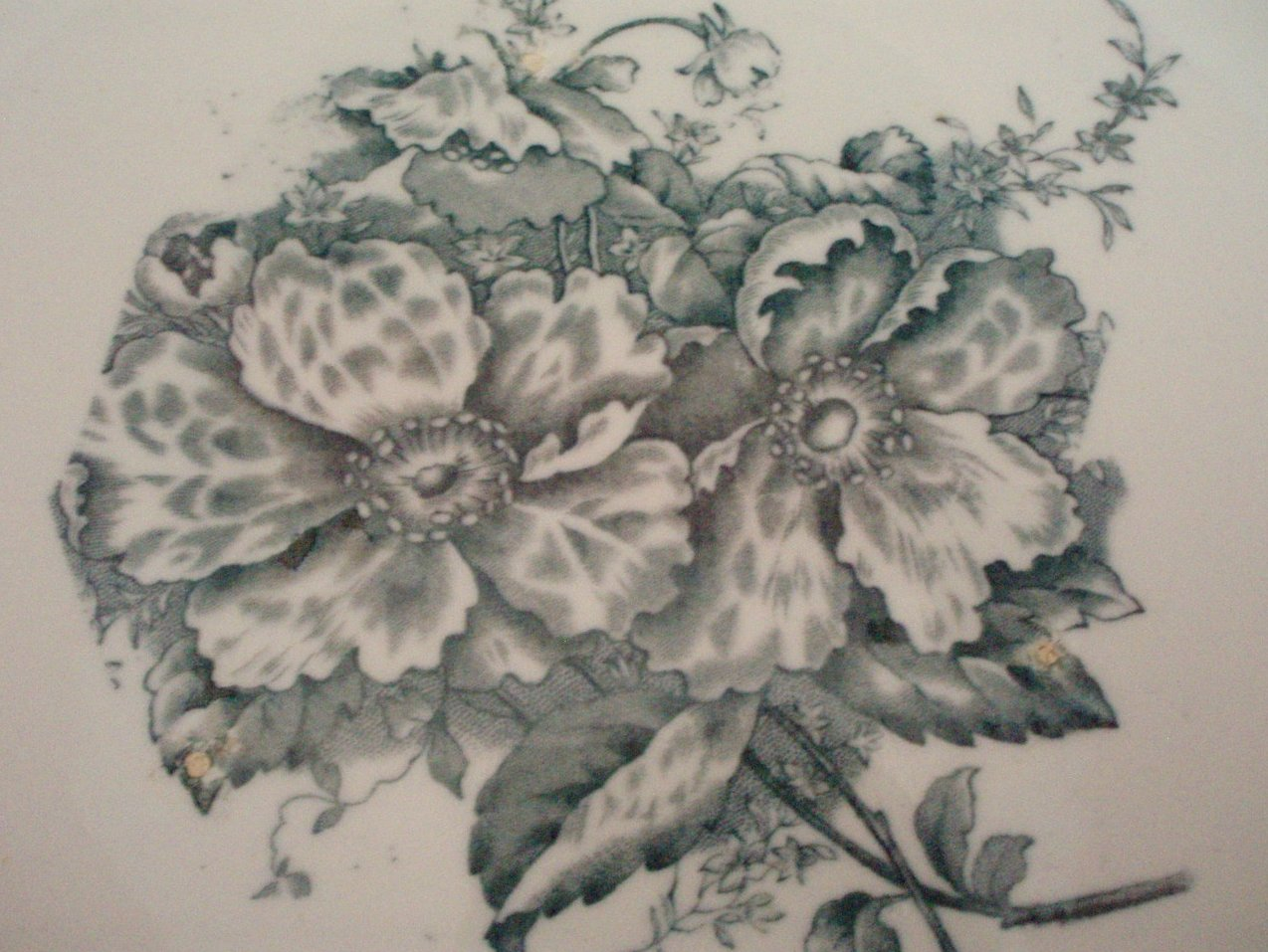 Image 1 of Antique wash bowl basin and pitcher green transferware