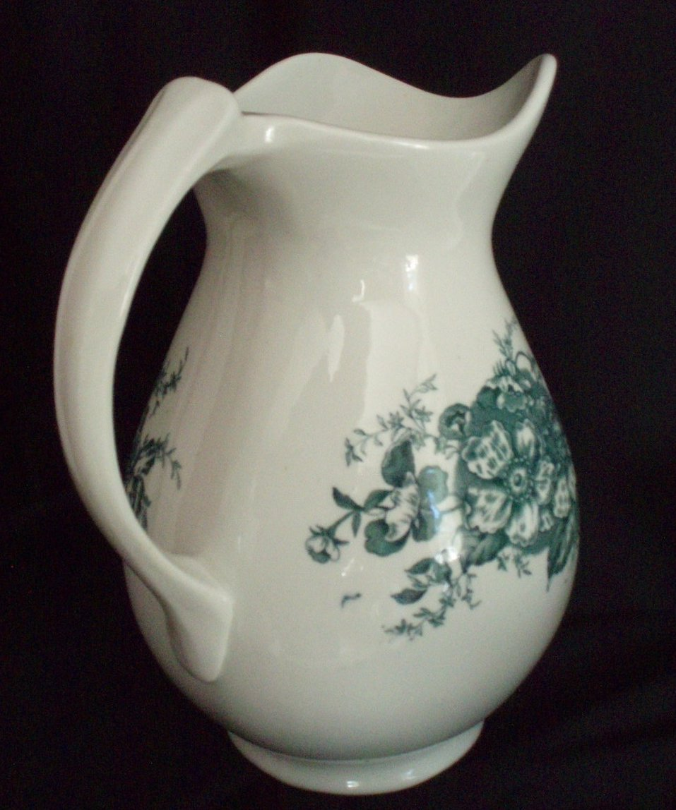 Image 2 of Antique wash bowl basin and pitcher green transferware