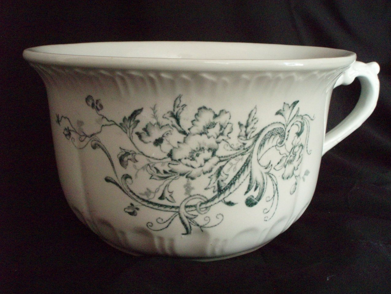 Antique chamber pot green transferware ironstone