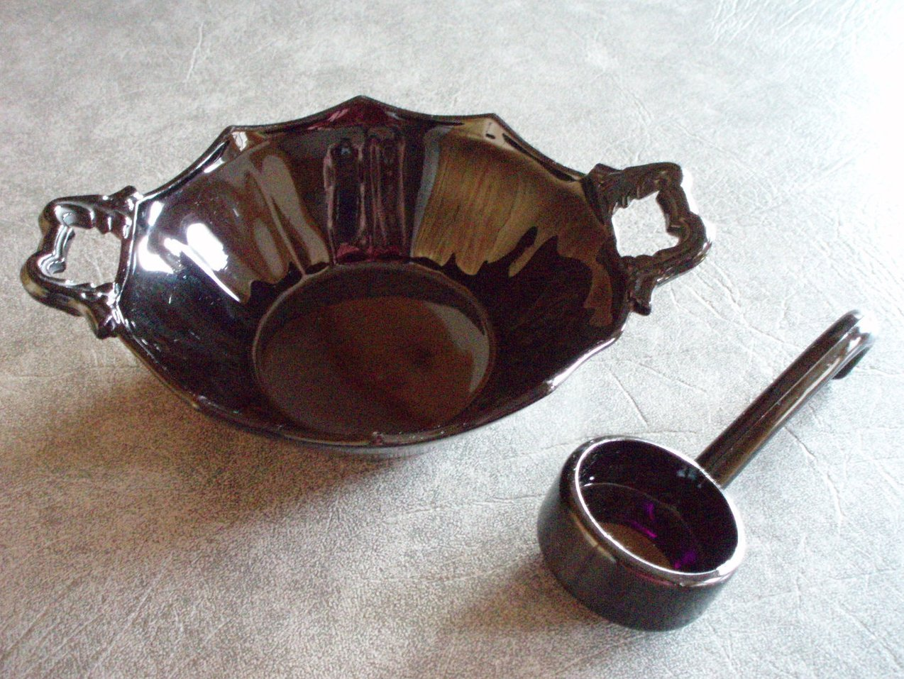 Black Central Glass amethyst 2 pc. condiment ebony dish VTG