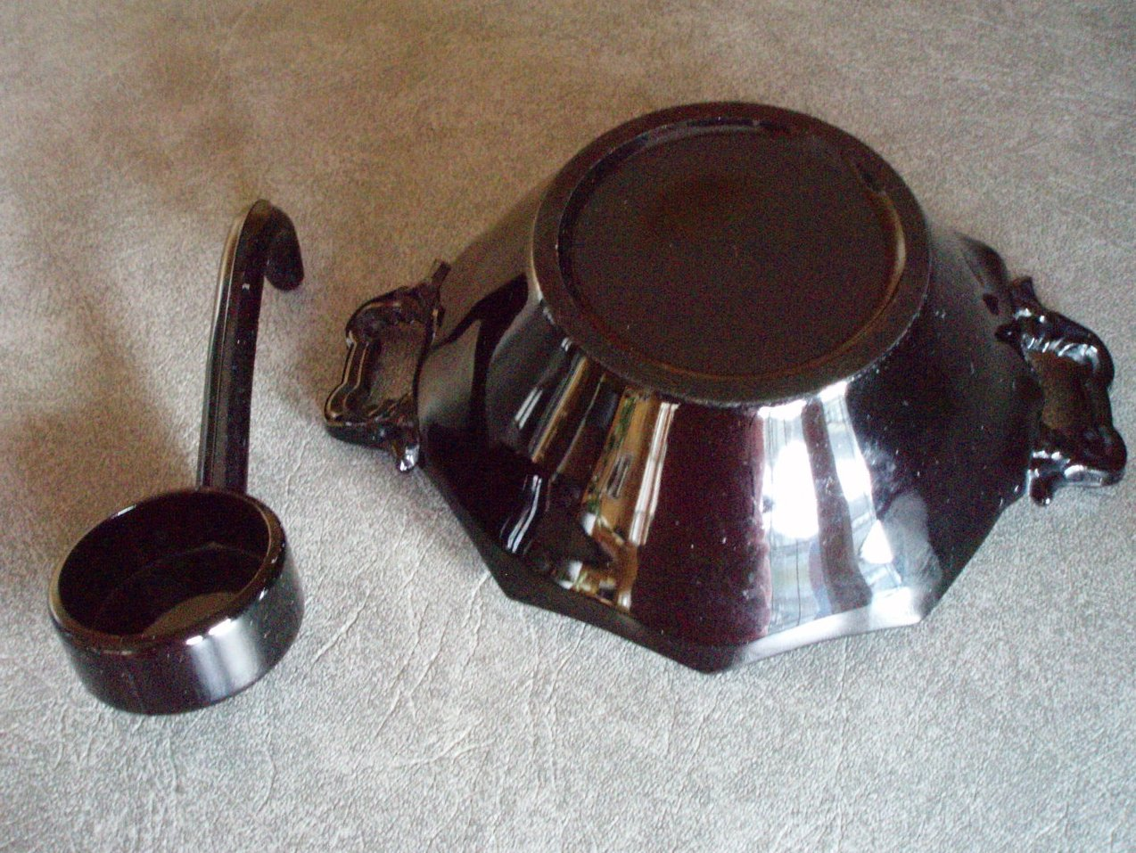 Image 3 of Black Central Glass amethyst 2 pc. condiment ebony dish VTG