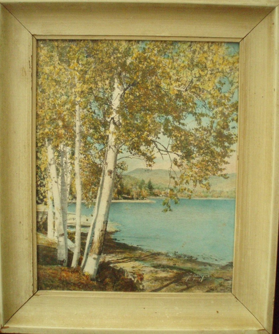 Charles H Sawyer hand painted photo Stinson Lake print