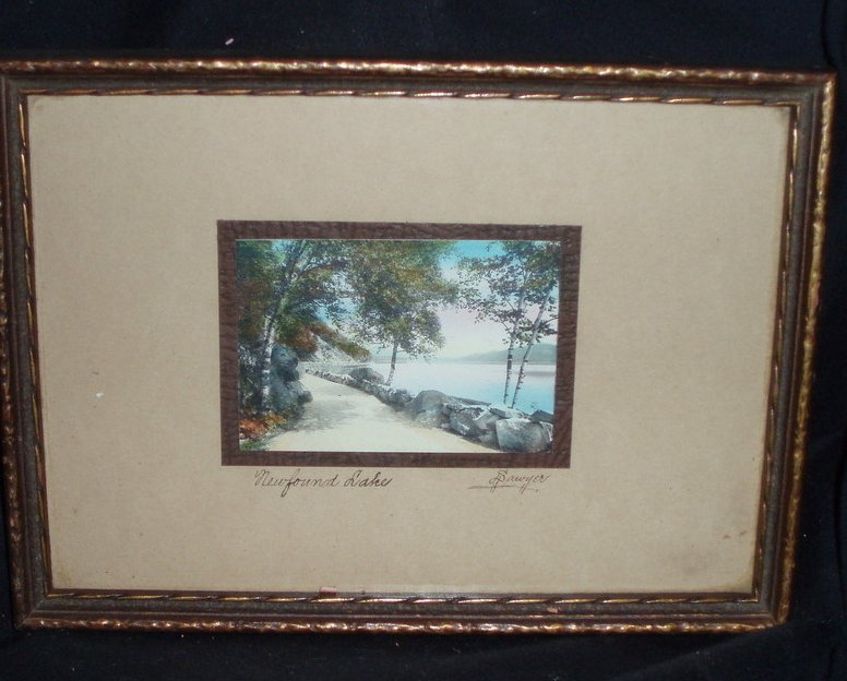 Charles H Sawyer hand painted photo Newfound Lake
