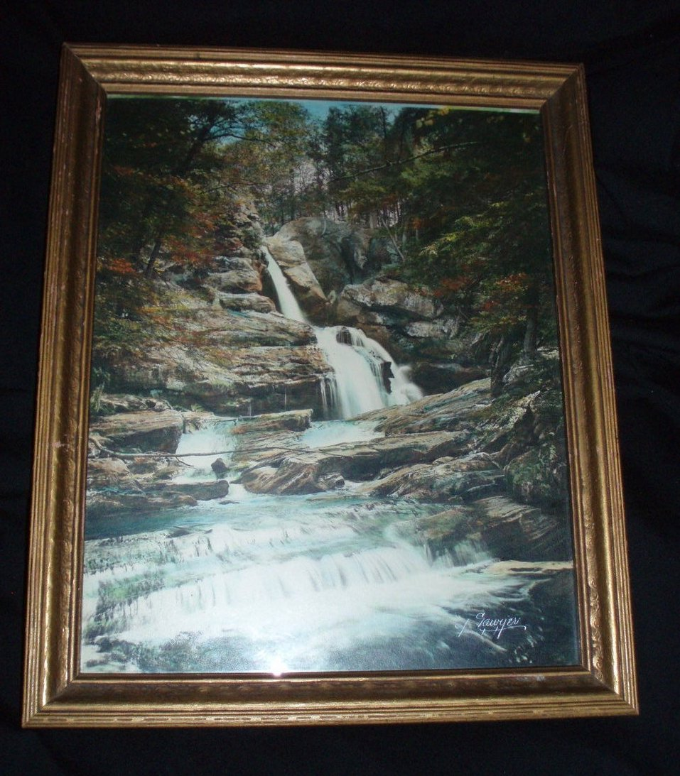 Charles Sawyer hand tinted photo Kent Falls CT antique