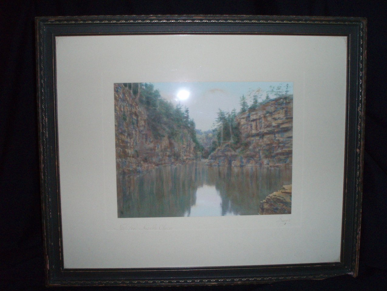 Charles Sawyer hand tint photo Ausable Chasm Pool