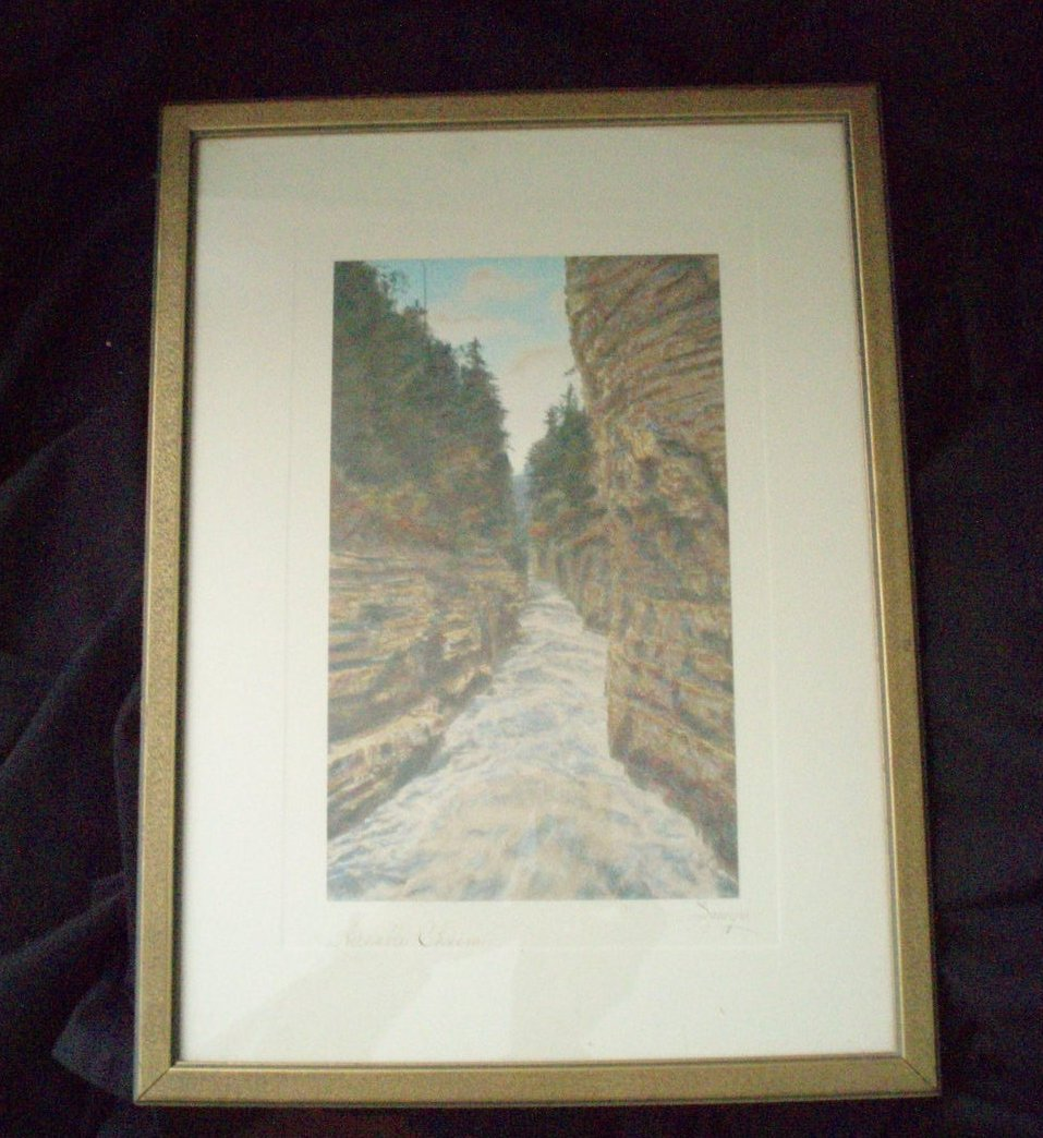 Charles Sawyer hand tinted photo Ausable Chasm