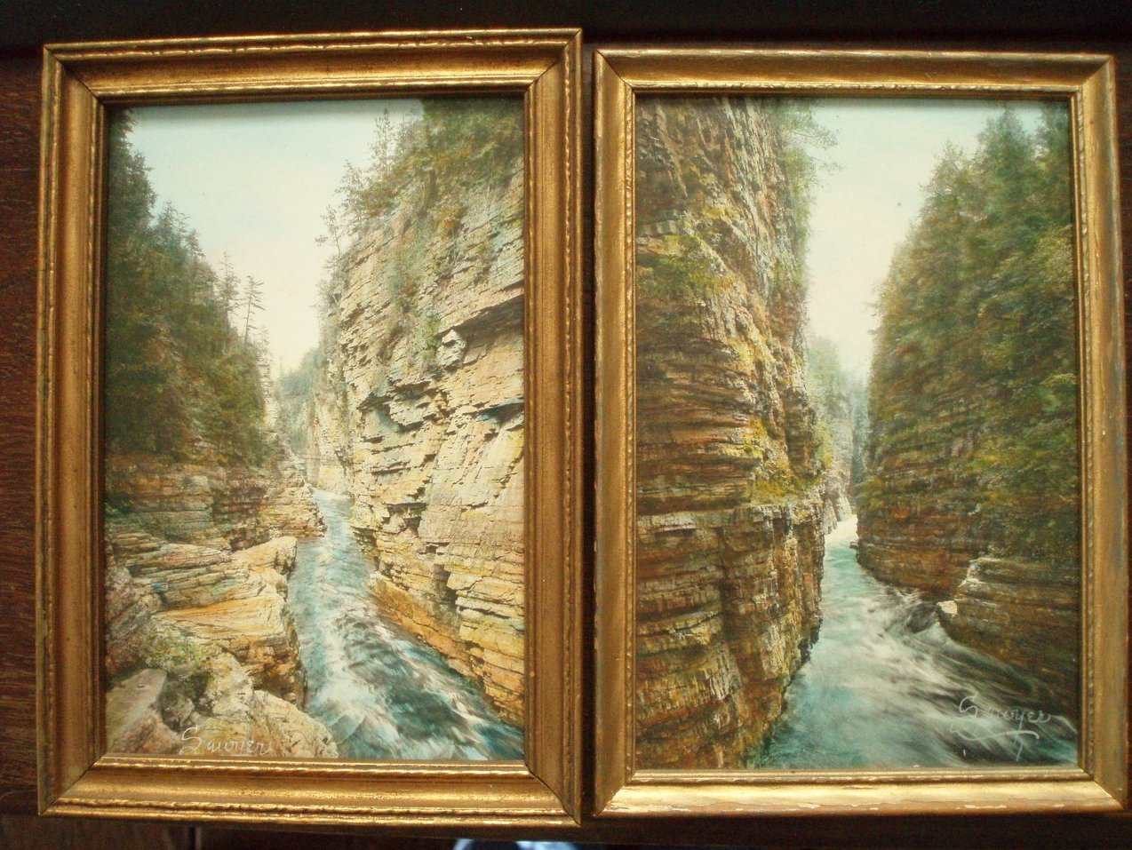 2 Charles Sawyer hand tint photos Ausable Chasm