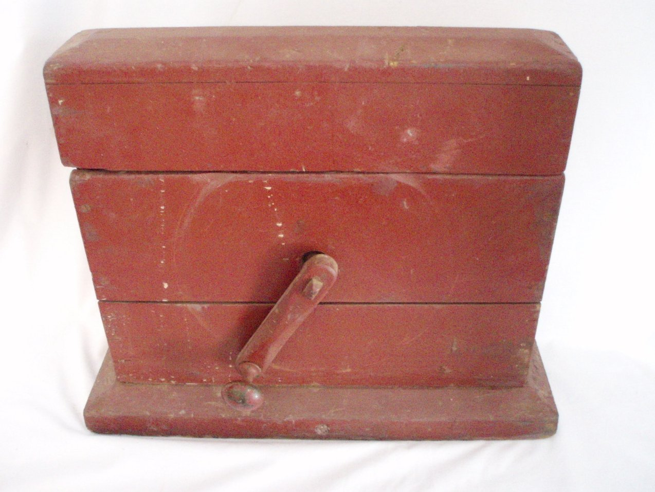 Image 1 of Primitive Grindstone hand cranked wood box Antique Tool