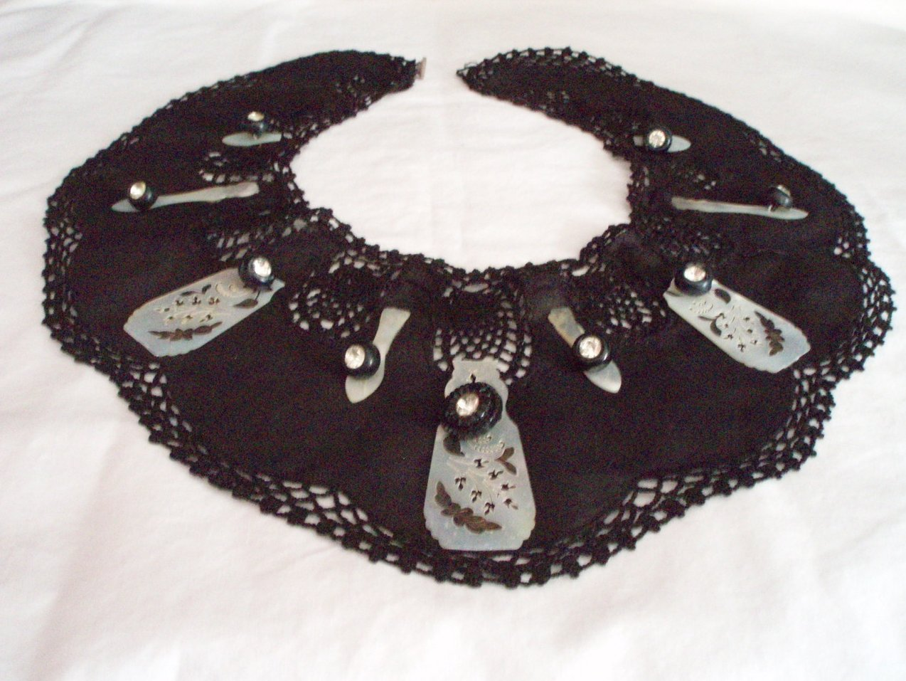 Steampunk Gothic accessory Victorian mother of pearl collar   Black