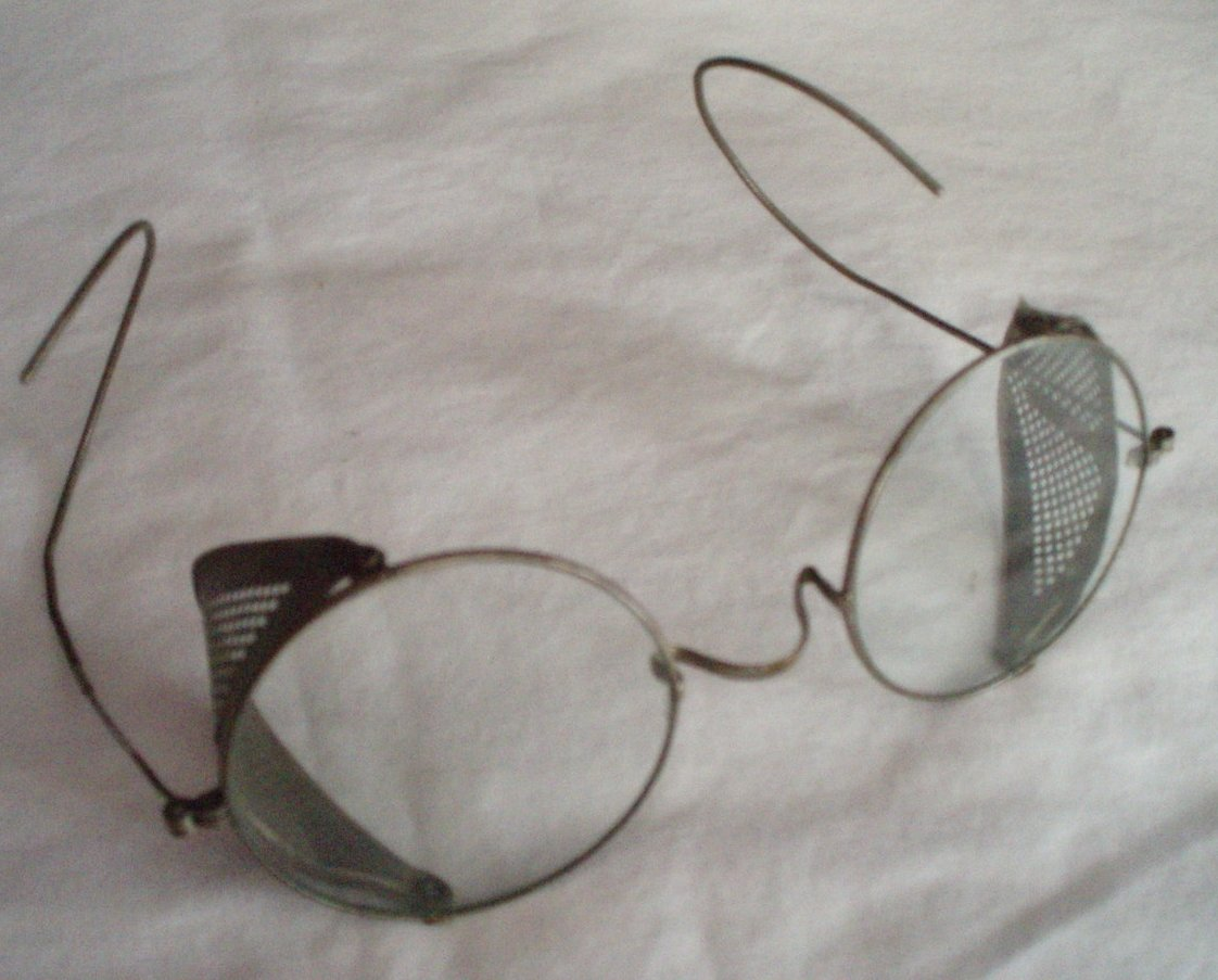 Antique safety eye glasses protective goggles silver