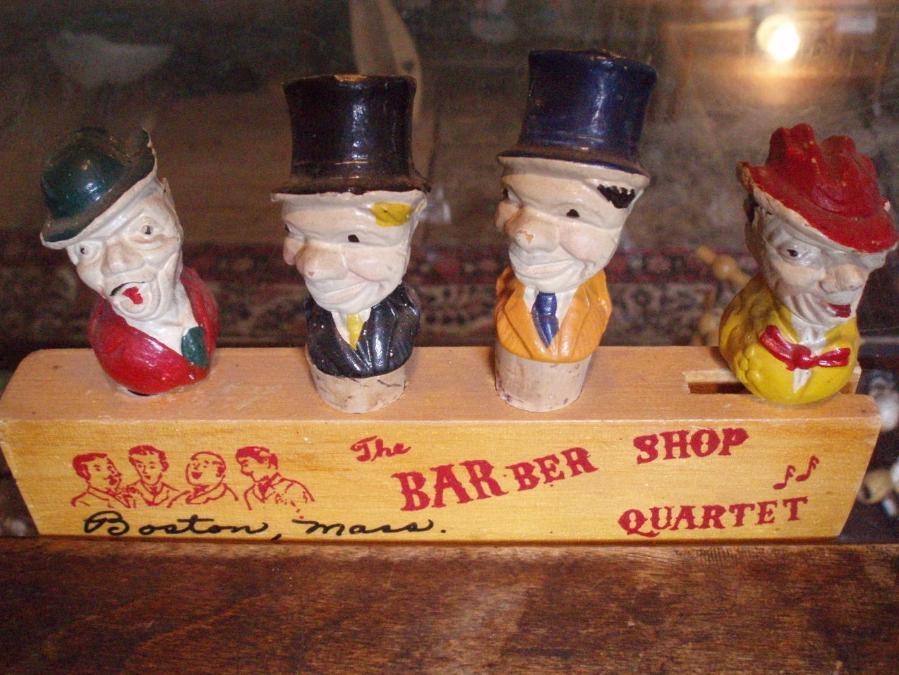 Barware vintage Barber Shop Quartet Marx Bros stoppers