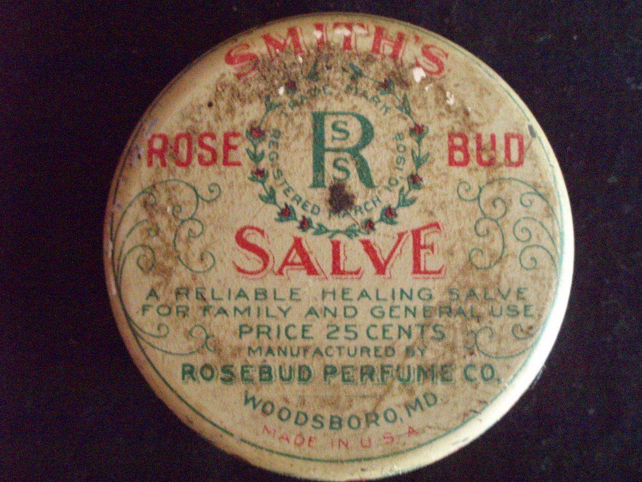 antique Smith's Rosebud salve medical tin