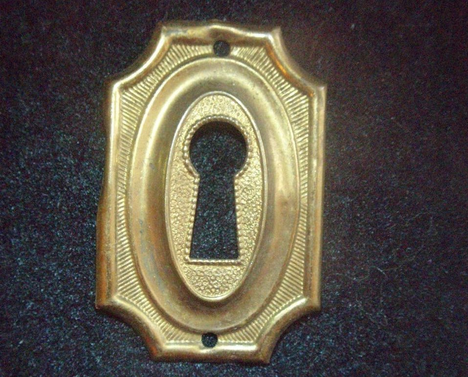 antique brass key hole cover Hepplewhite escutcheon