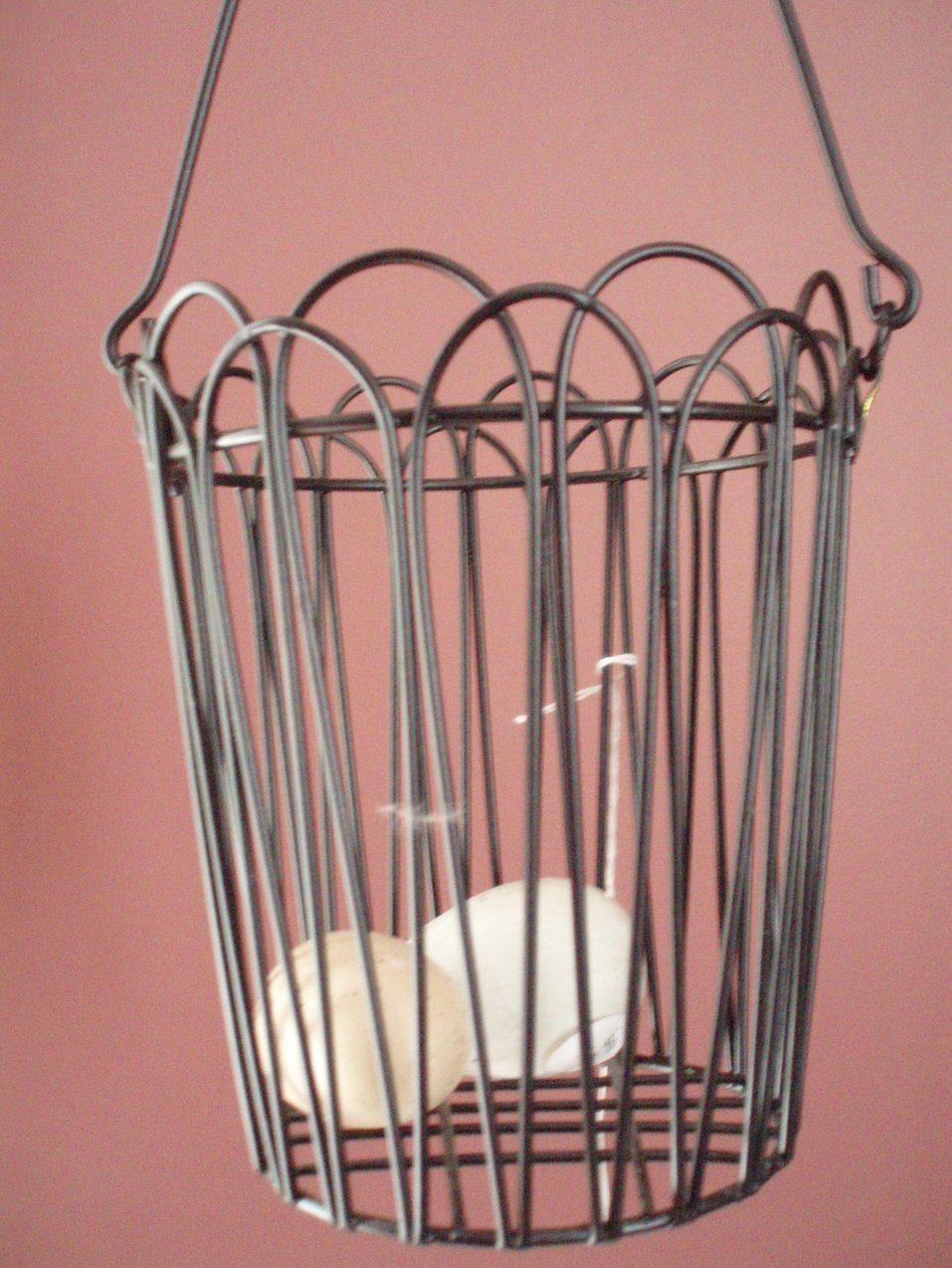 Wire hanging egg basket for Hang photos from wire