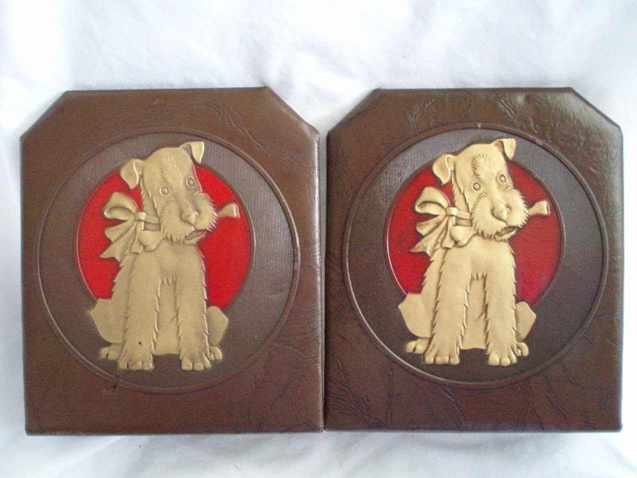 Bookends Fox Terrier Airedale Dogs leather Antique Durand
