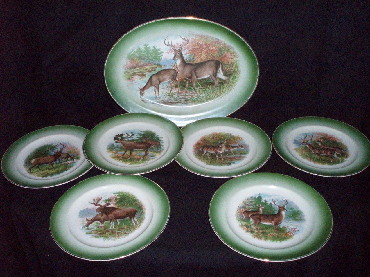 R K Beck Buffalo Pottery wildlife platter & plates vintage