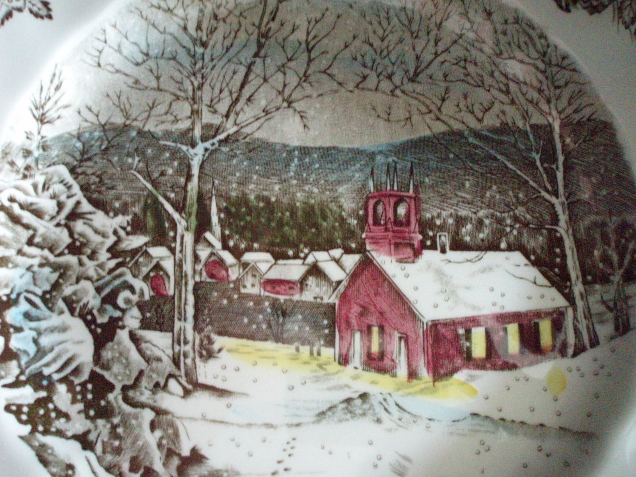 Image 1 of Johnson Brothers Friendly Village Dinner plate Schoolhouse