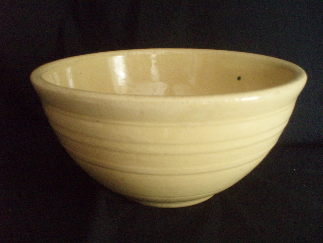 Antique 12 inch yellow ware mixing bowl primitive