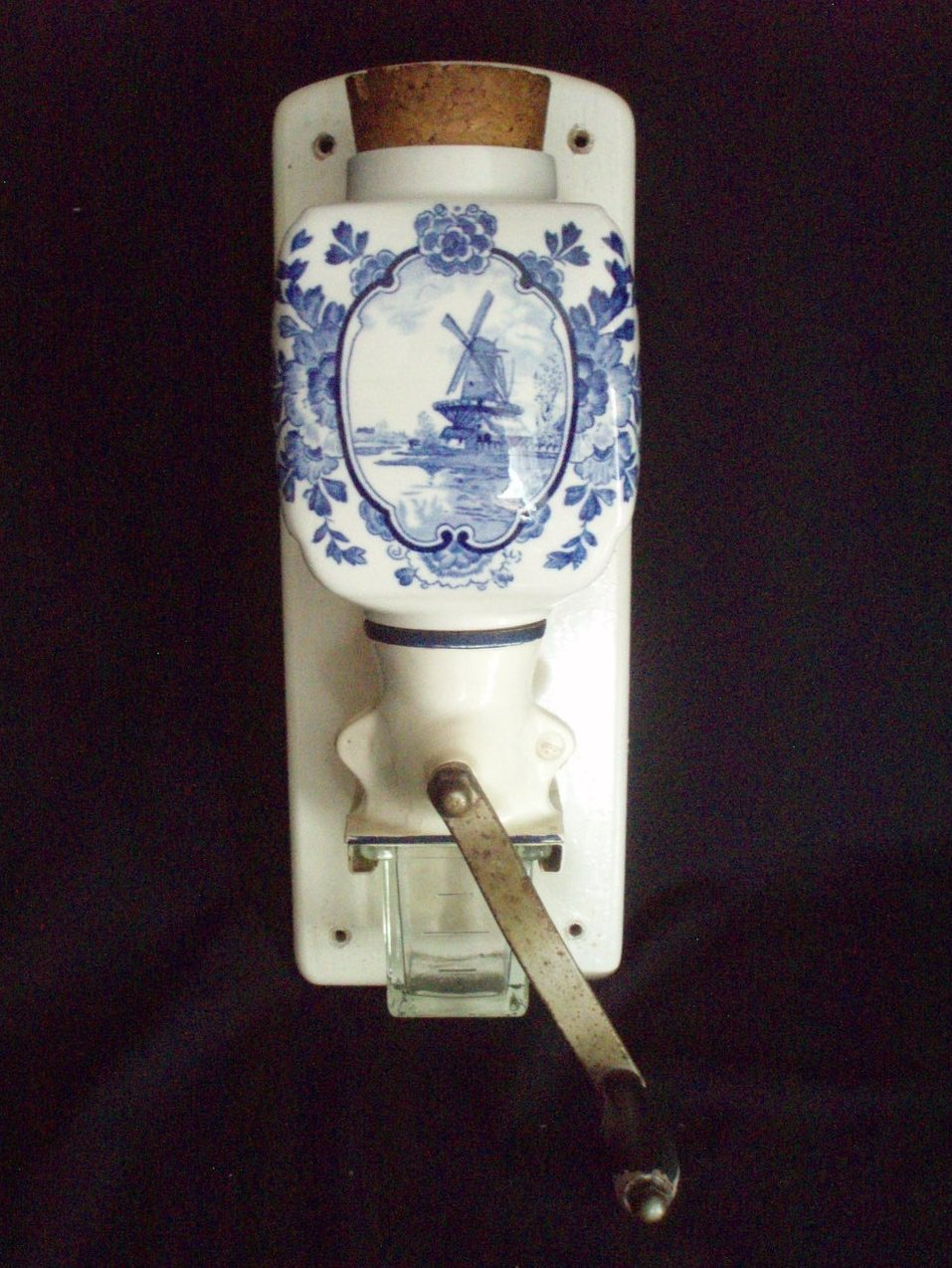 Vintage Blue De Ve Delft Coffee Mill Grinder wall mount