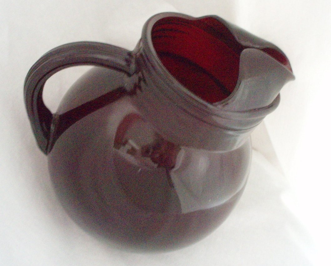 Image 2 of Anchor Hocking Royal Ruby Red 42 oz tilt Pitcher & 8 Juice tumblers vintage