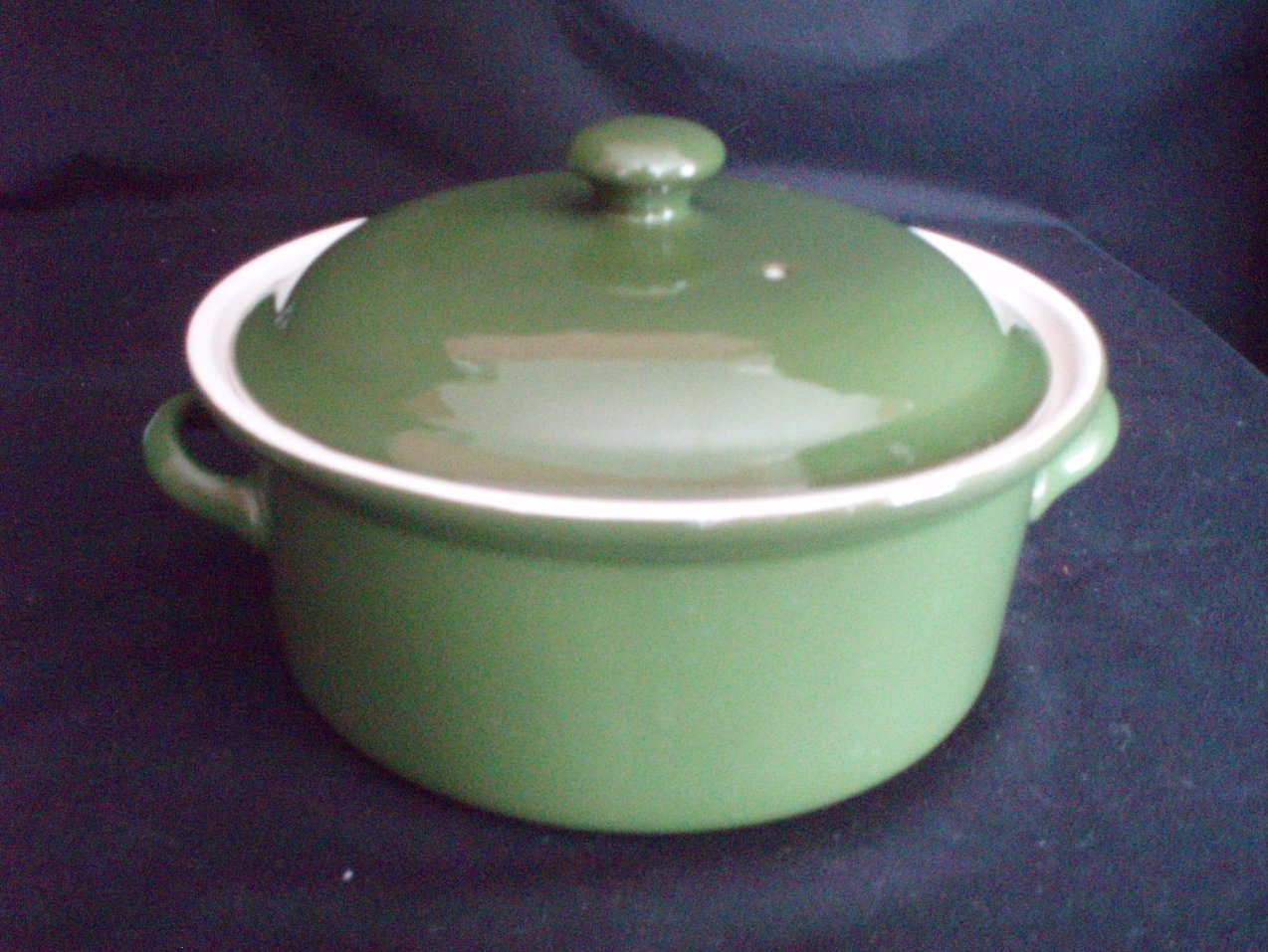 Image 1 of Hall Pottery China Forest Green Lidded Casseroles 1 Qt. and 1 Pt.