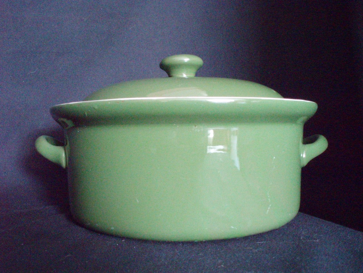Image 4 of Hall Pottery China Forest Green Lidded Casseroles 1 Qt. and 1 Pt.