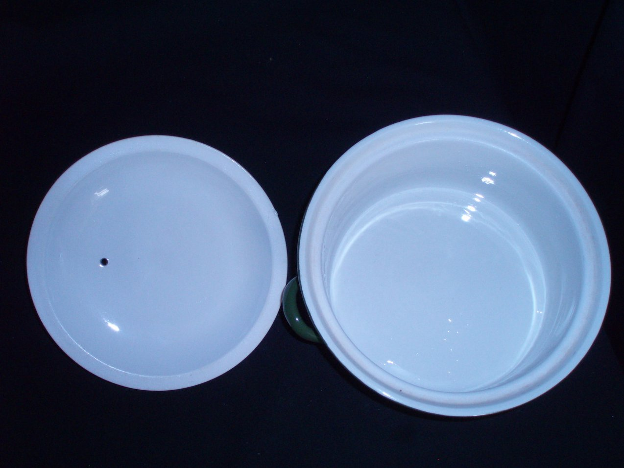 Image 6 of Hall Pottery China Forest Green Lidded Casseroles 1 Qt. and 1 Pt.