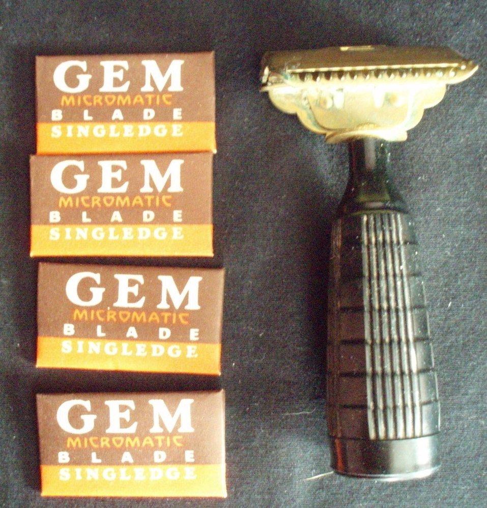 Gem Junior Razor vintage single edge solid brass and Bakelite with 4 new blades