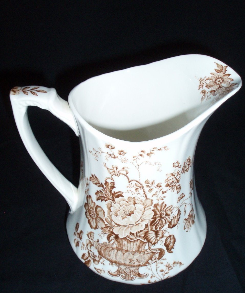 Antique Alfred Meakin Pitcher Charlotte brown Transferware Ironstone
