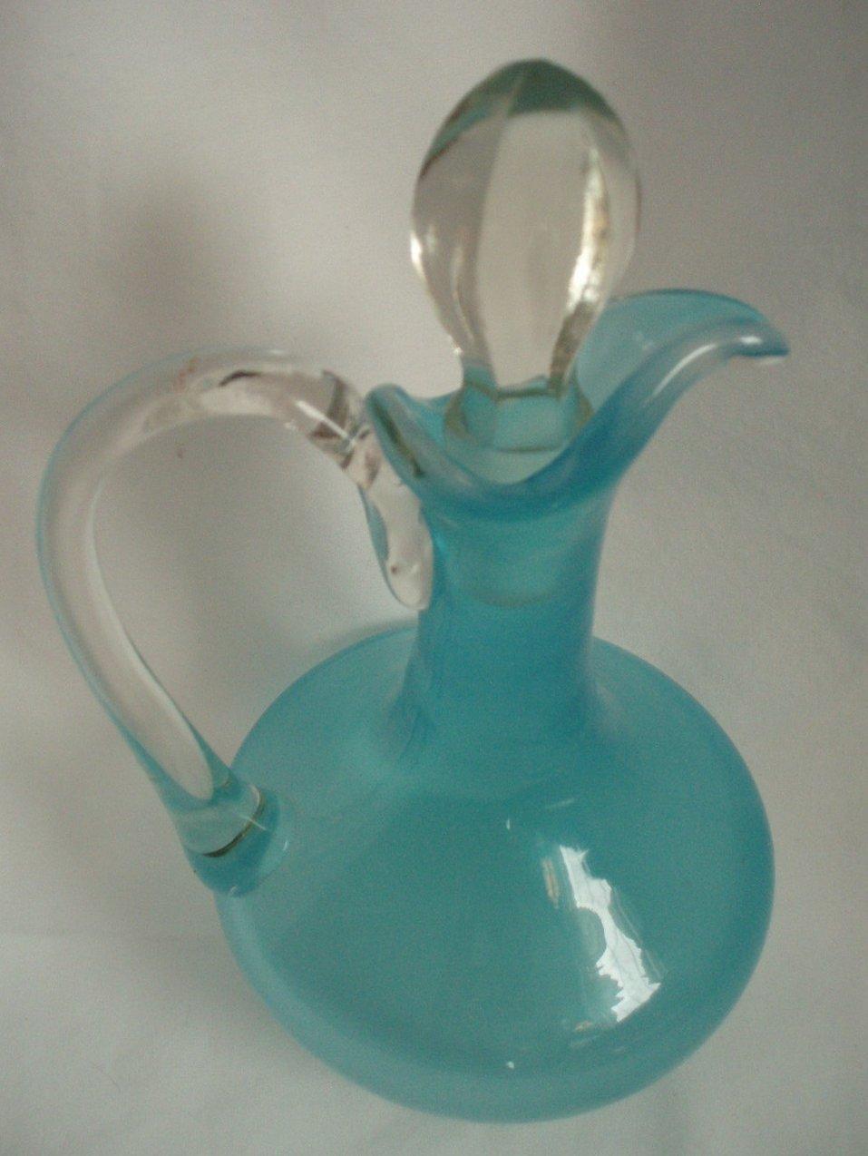 Image 1 of Cruet Vintage Murano Venetian hand blown blue w/stopper