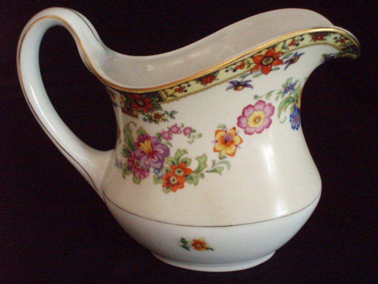 Vintage 32 oz floral ironstone milk pitcher